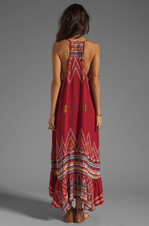 40defe4863 Indah Leyti High-Low Ruffle Sundress in Red Endek Maxi Dress ...