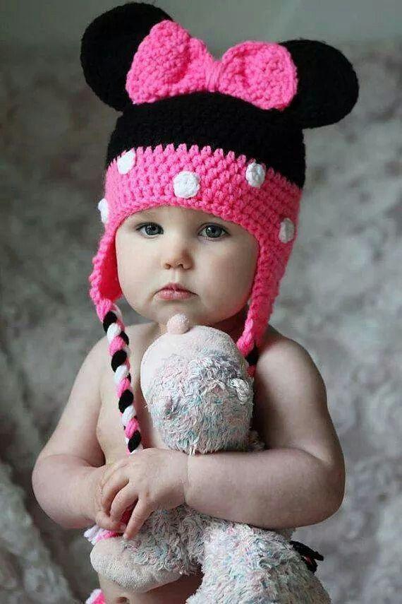 Minnie mouse crochett | Crochet hats | Pinterest | Babymütze ...