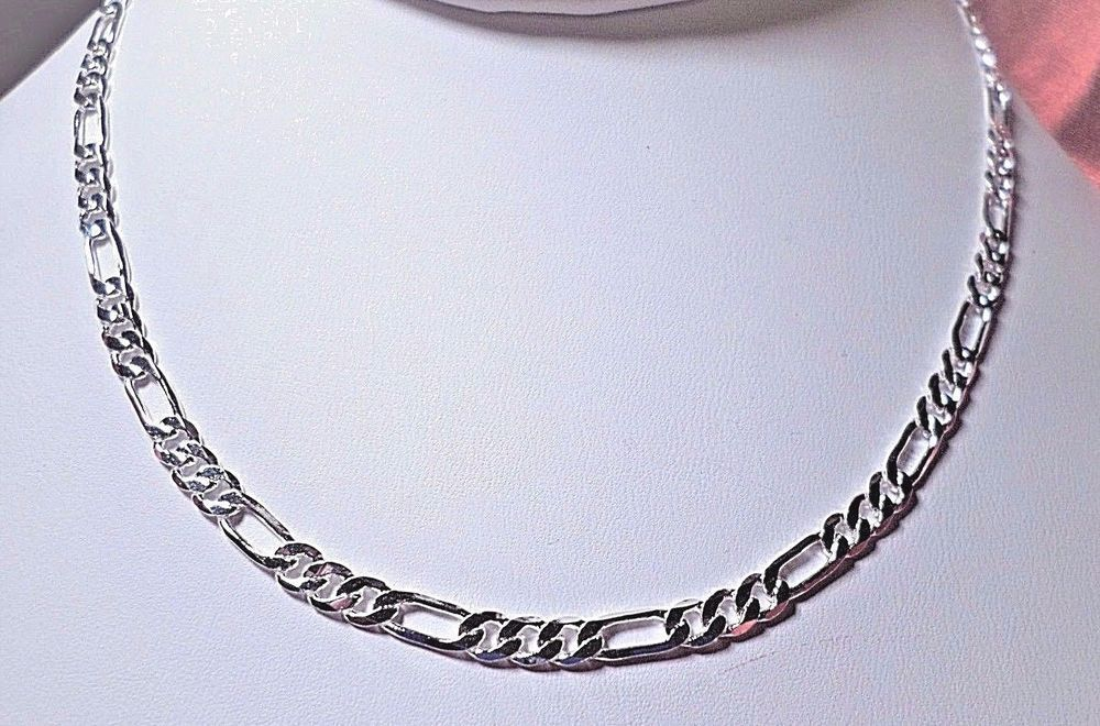 9547935bd8173 Figaro chain necklaces .925 sterling silver 4mm 18-20-22-24-26-28-30 ...