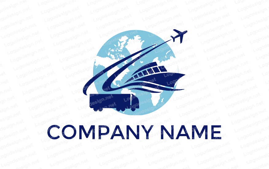 Container truck ship and airplane in globe Maquillaje