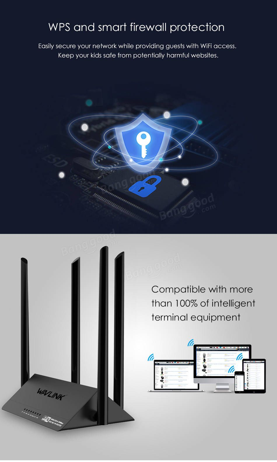 Wavlink 521R2P 4x5dBi Antennas 300Mbps APP Control