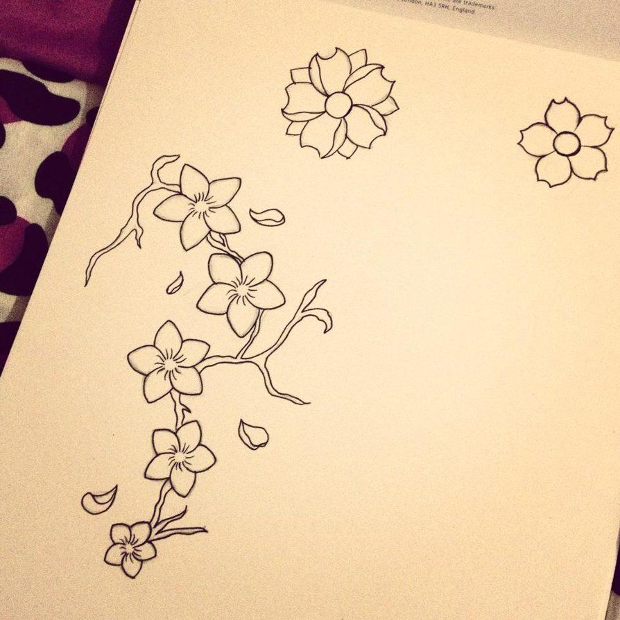 Cherry Blossom Tattoo Drawings  Cherry Blossom Tattoo Design By  *charlottelucyy On Deviantart