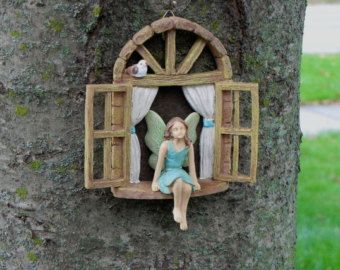 Photo of Miniature garden GIRL no wings – mini garden accessory – Girl sitting in miniature window, accessory for fairy garden