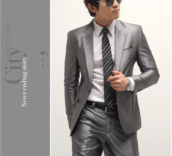 Men's clothing groom formal dress slim suit silver grey blazer ...