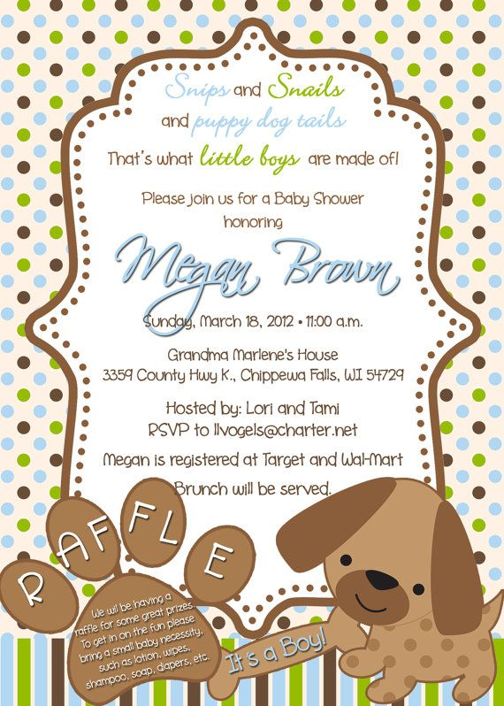 Puppy Dog Theme Personalized Baby Shower By Partycreations4u