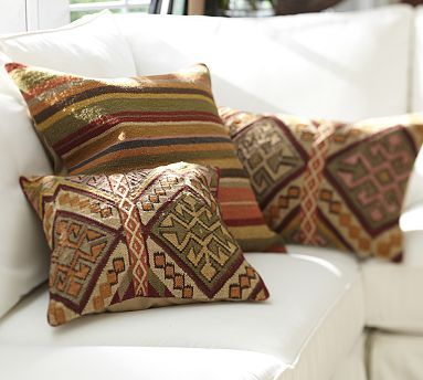 Kashan Dhurrie Stripe Amp Kilim Pillow Covers Potterybarn