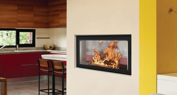 BeF Twin 10 Aquatic – Transparent fireplace insert with wide angle …