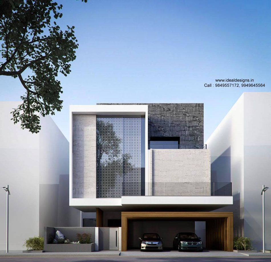 Beautiful commercial building elevation 3d view for Modern house front view design