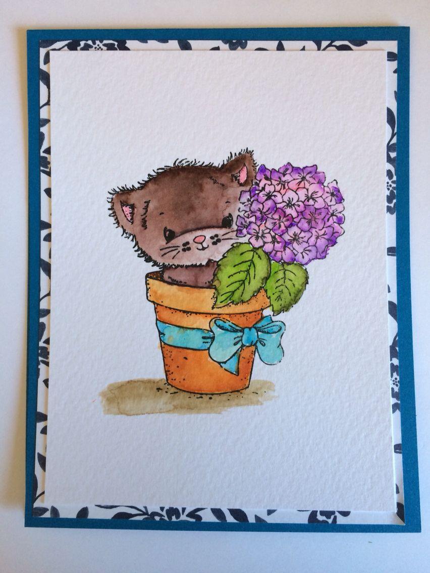 Kitty and hyacinth. Watercolor.