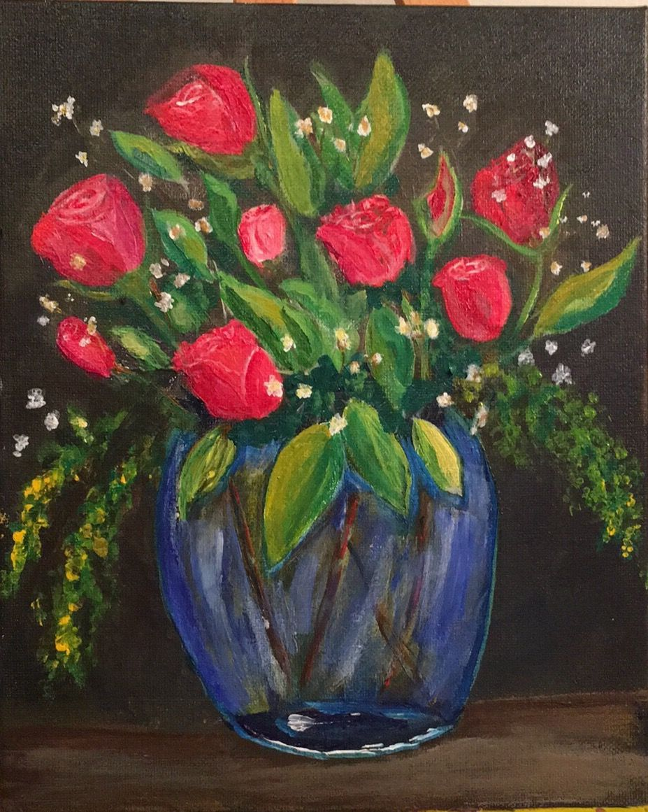 Pin by Marty D on Paintings   Painting, Rose vase, Art inspiration