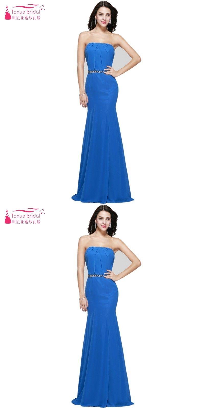 Strapless mermaid long chiffon bridesmaid dress with crystal belt on
