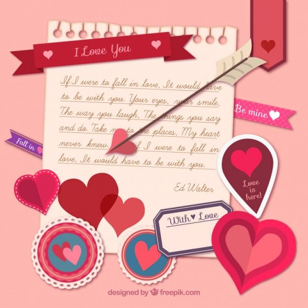 Love Note With Valentine Day Elements Free Vector Valentines Day