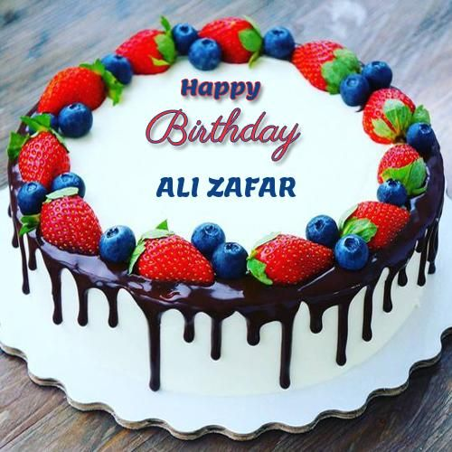 Birthday Classic Strawberry And Cherry Cake With Name Ali Zafar