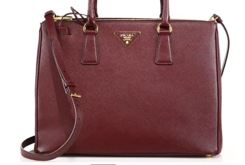 6600da03aad2 Prada New Saffiano Lux Medium Double-zip Leather Satchel BURGUNDY Tote Bag.  Get one of the hottest styles of the season! The Prada New Saffiano Lux  Medium ...