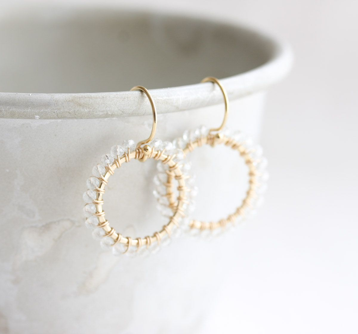 Some more gem wrapped hoop earrings, this time in gold with ...