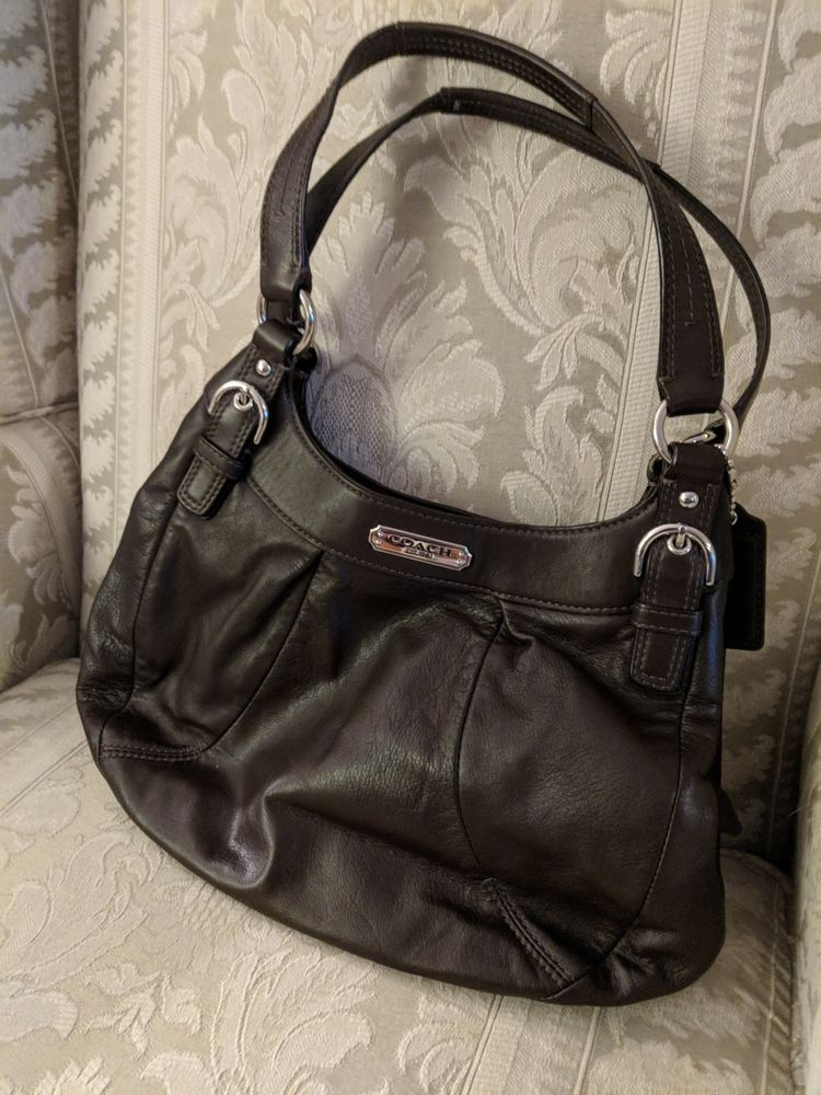 Details about Coach Dark Brown 2 Handled Leather Handbag Gorgeous b8809622ee