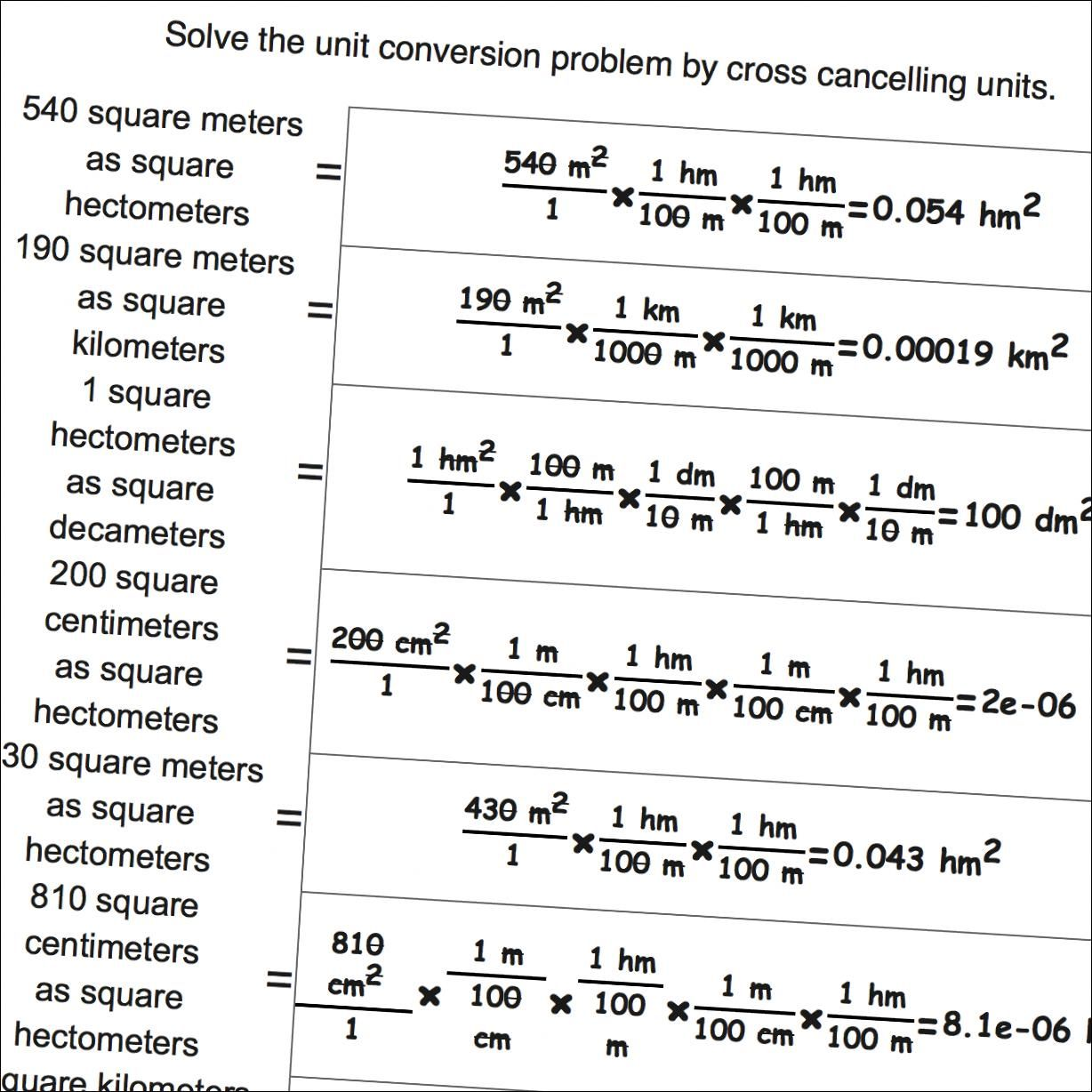 Math Worksheets Metric Si Area