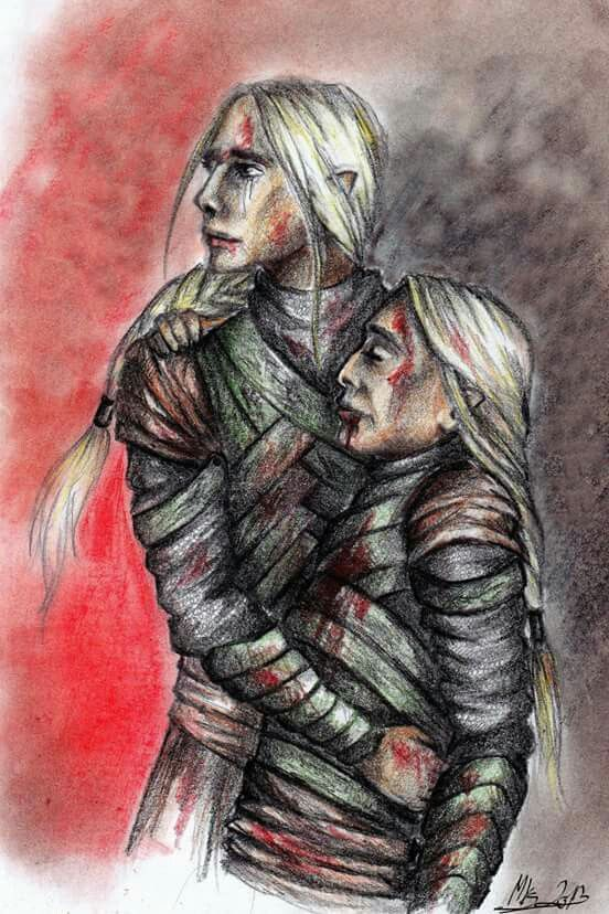 Thranduil and his father. Credits to the artist