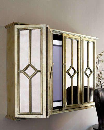 Flat Screen Tv Cabinet Home Livingroom Versteckter Fernseher Dekorativer Stauraum Wohnzimmer Tv
