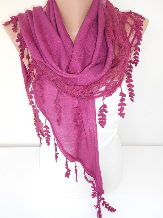 NEW Purple Scarf Shawl Triangle Scarf Cowl Scarf by ScarfClub  Amazing color and textures, <3!