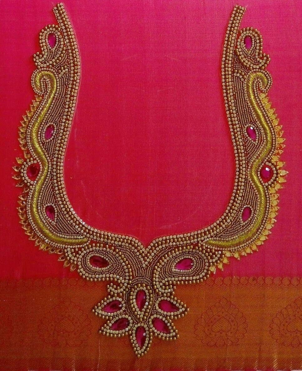 Border maggam design with beads and threads | Blouses | Pinterest ...