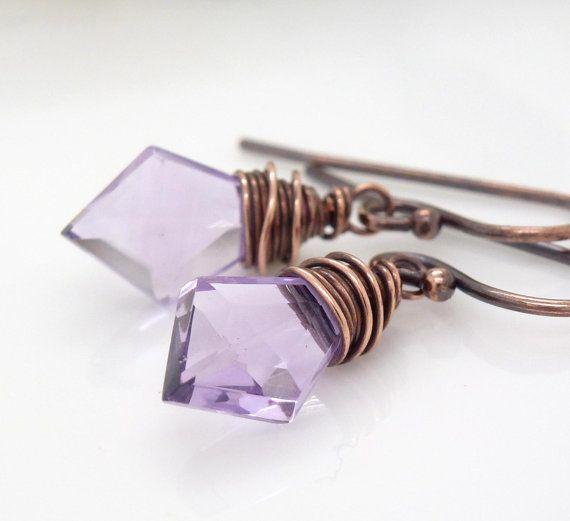 Light purple amethyst earrings copper by CreativityJewellery