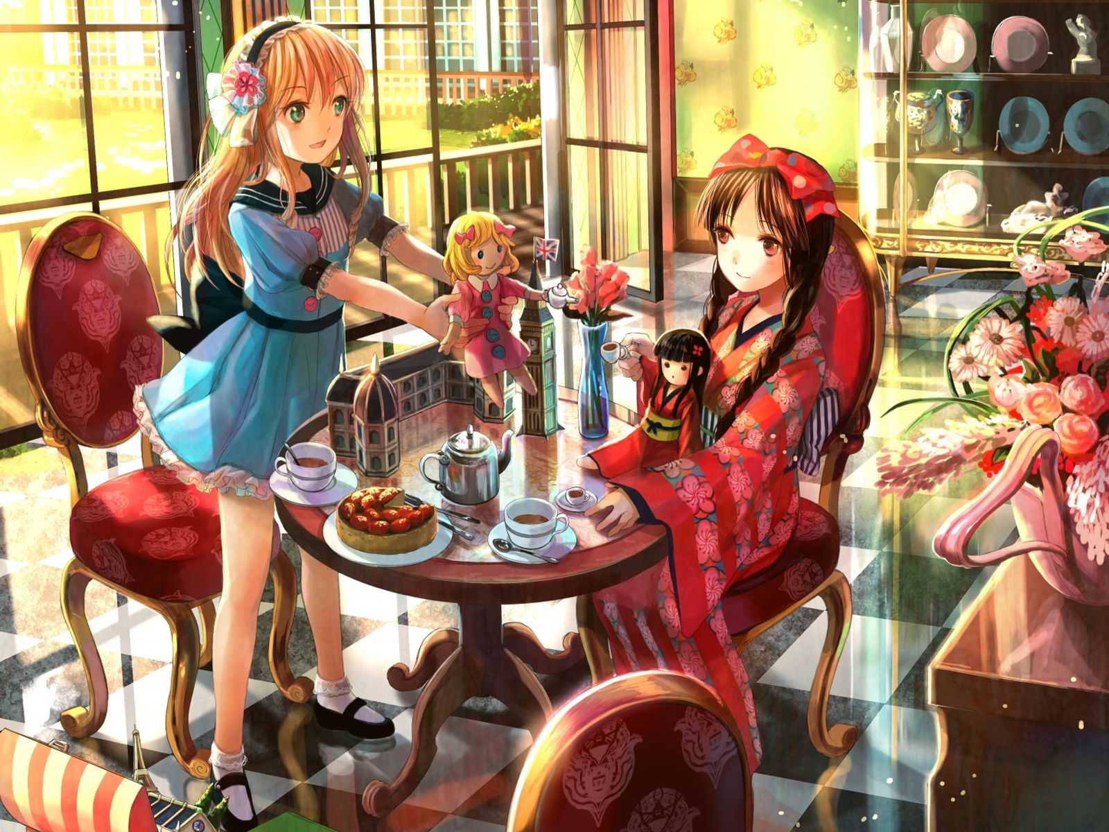Anime Drinking Tea In A Traditional Way