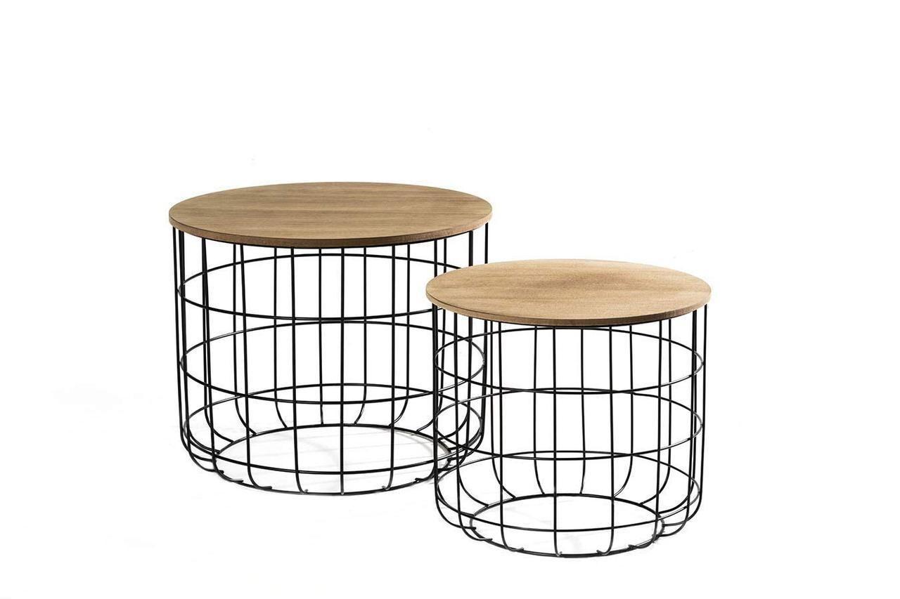 56 95 Euro Www Amazon De Lifa Living Beistelltisch 2er Set Vintagestil Industriestil Schwarz Metall Holz Werbu Side Table Side Table With Storage Table