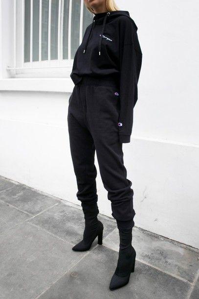 cfd6c131b5ce pants tumblr black pants tracksuit joggers joggers pants sports pants  sportswear hoodie black hoodie champion boots black boots sock boots high  heels boots ...