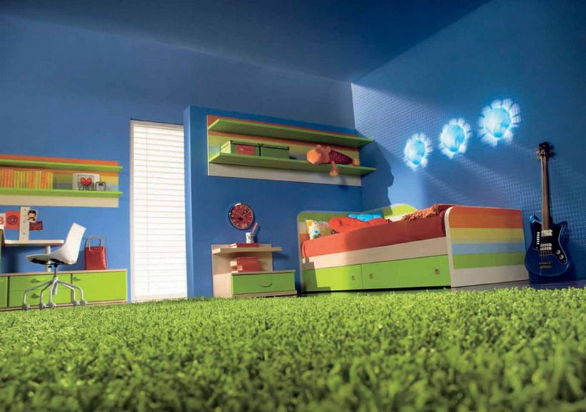 Green Carpet And Blue Wall In Kids Bedroom De Disenos