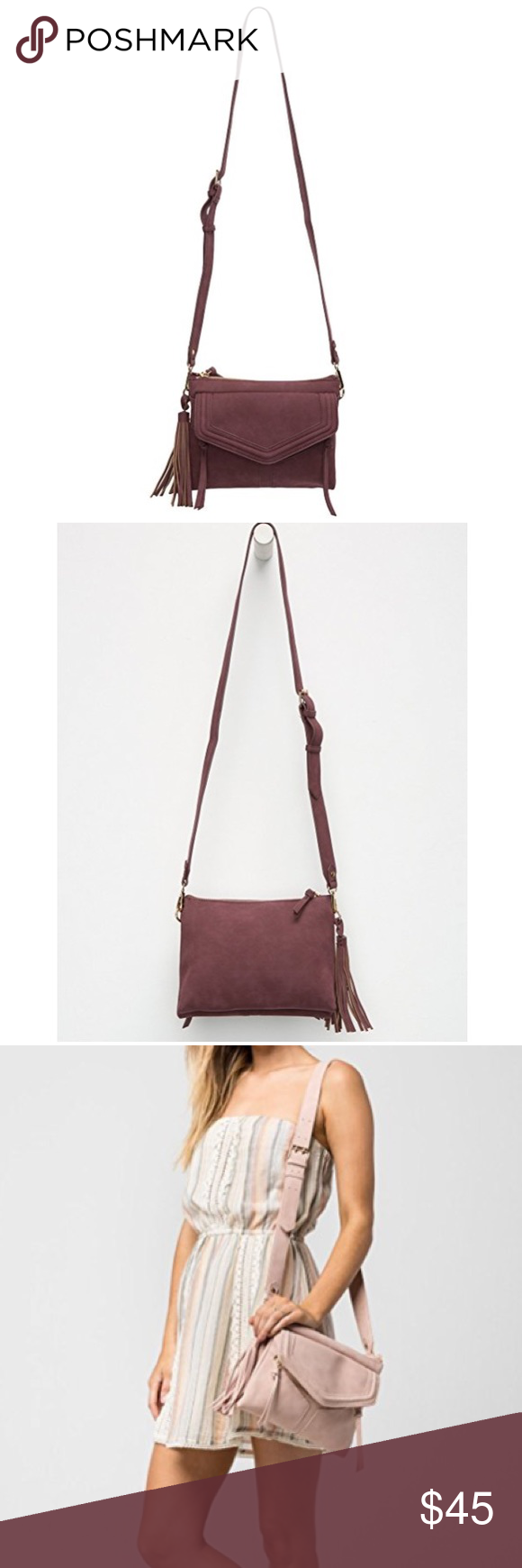 3d16db0fe346 Free People Leanna in wine Brand new with tags free People brand Violet Ray Leanna  crossbody bag in burgundy wine color. Violet Ray is a brand that is sold ...