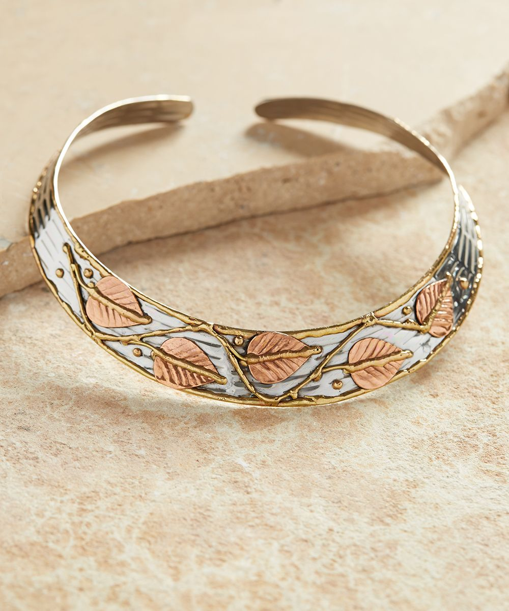 Tri-Tone Leaf Collar Necklace