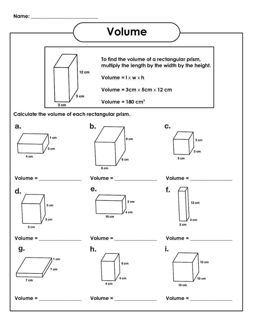 Fifth Grade Math Worksheets Printable Shelter Volume