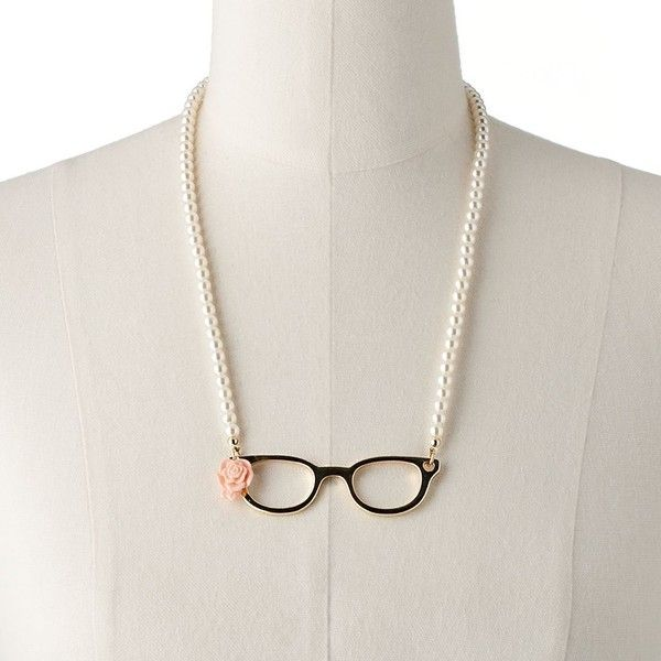 SO Gold Tone Simulated Pearl Eyeglass Necklace (€7,23) found on Polyvore