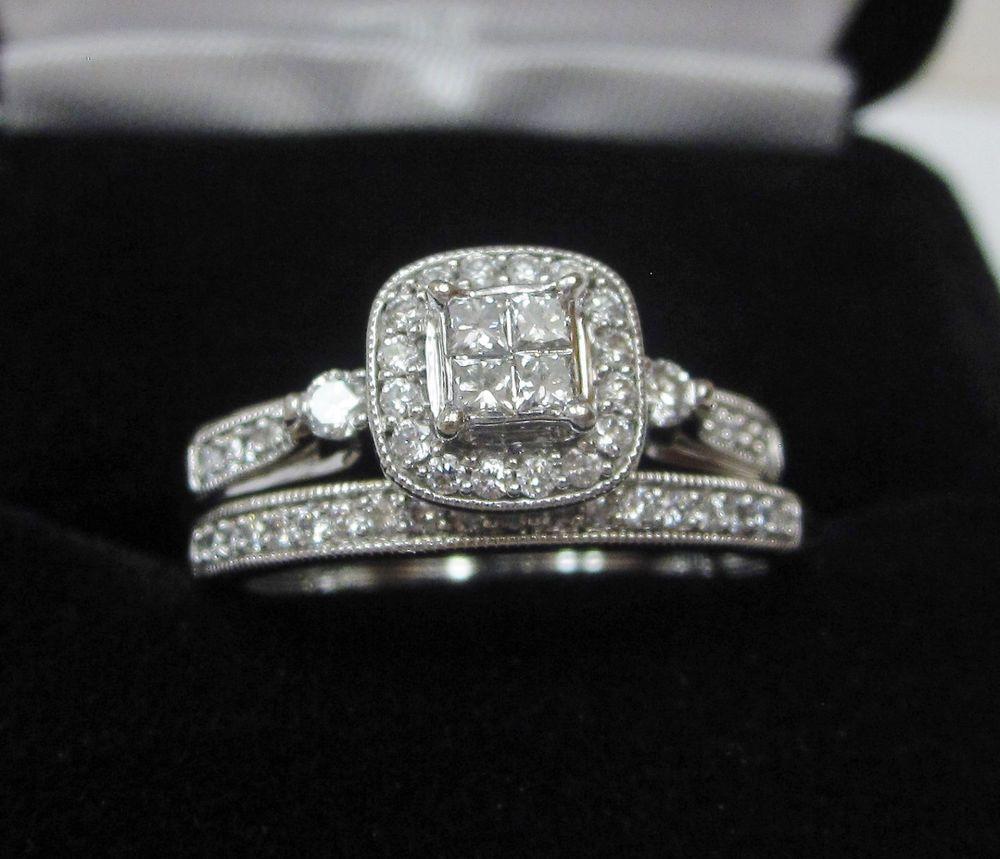 princess quad halo diamond wedding engagement ring set 10k white