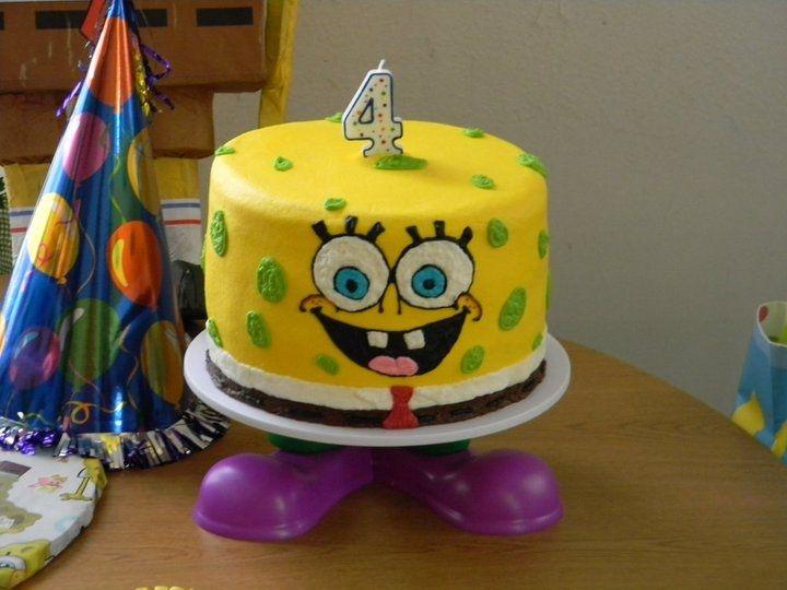 Round Spongebob Cake With Images Spongebob Cake Spongebob