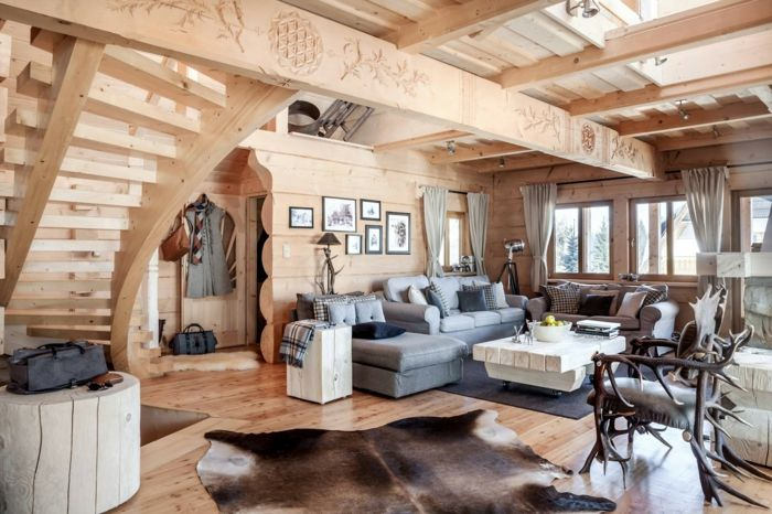 Como decorar un salon salon con techo y paredes de madera - Muebles estilo rustico moderno ...