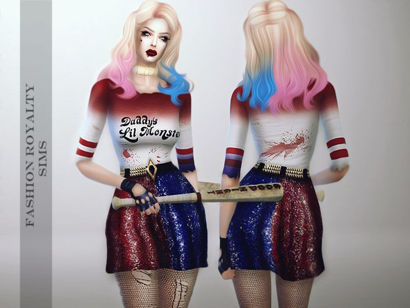 Harley Quinn Dress For Your Sims Found In Tsr Category Sims 4