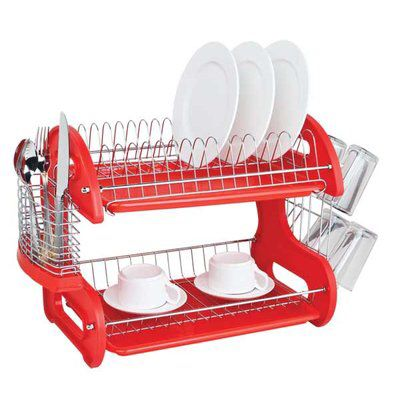 Home Basics 2 Tier Dish Rack Enchanting Home Basics 2 Tier Plastic Dish Drainer  Dish Drainers Review