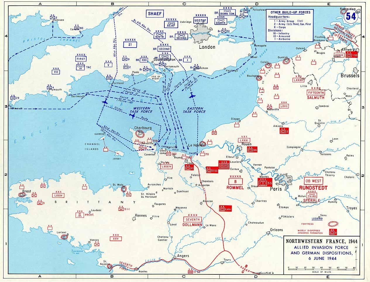 The map below gives the order of battle for the Allies and the
