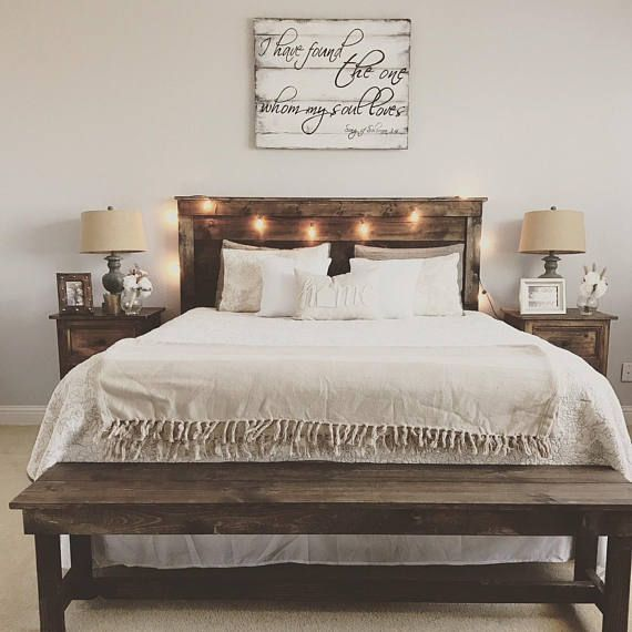 Rustic Wooden Bench Entry Bench Foot Of The Bed Bench Farmhouse Bedroom Decor Master Bedrooms Decor Farmhouse Bedroom