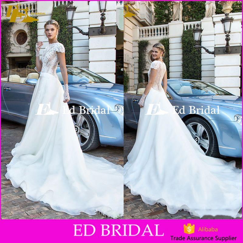 A-line Designer Bateau Neckline Short Sleeve Organza Lace Vintage Islamic Wedding Dress