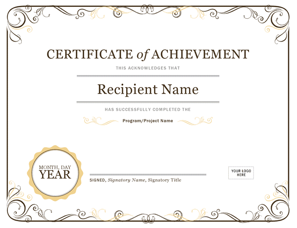 Certificate Of Achievement Office Templates Office Templates
