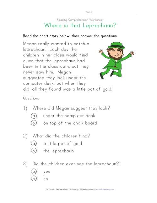 St Patricks Day reading comprehension worksheet A short and – Short Story Worksheets