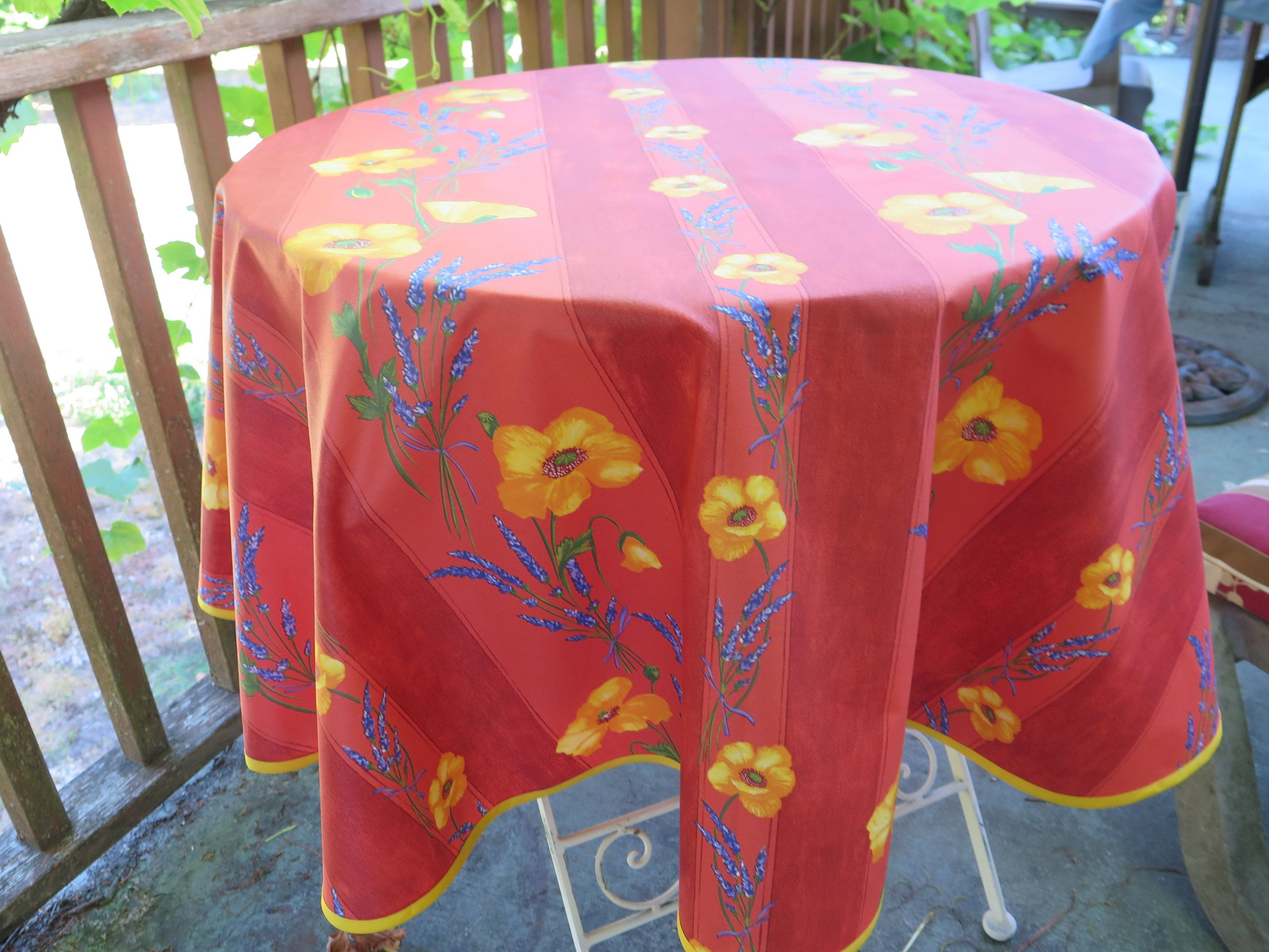 Round Tablecloth French Cotton Coated Oilcloth 40 To 60 Diameter Fabric From Provence France Poppies In Terra Cott Oil Cloth Round Tablecloth Table Cloth