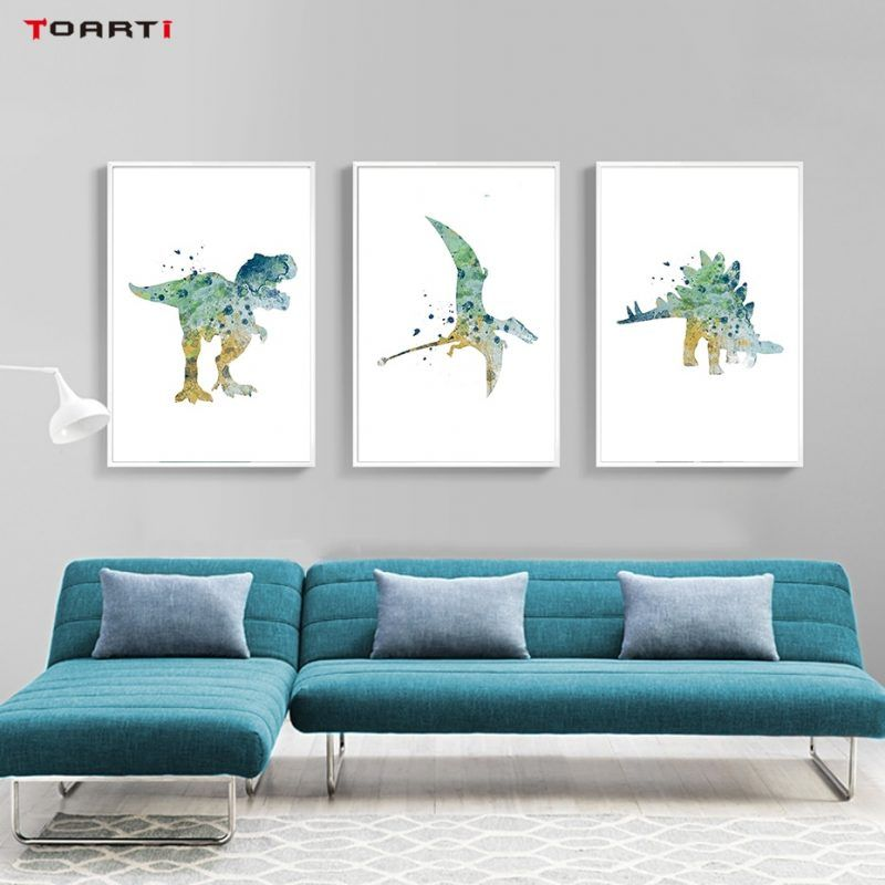 Watercolor Cartoon Animals Posters Prints Dinosaur Canvas Painting On The Wall For Living Kids Room Home Decor Art Pictures Kids Room Wall Art Watercolor Kids Room Art Wall Kids