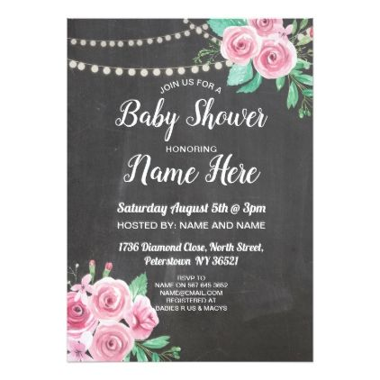 Baby shower invite flower chalk floral pink roses graduation party baby shower invite flower chalk floral pink roses graduation party invitations card cards cyo grad filmwisefo Choice Image