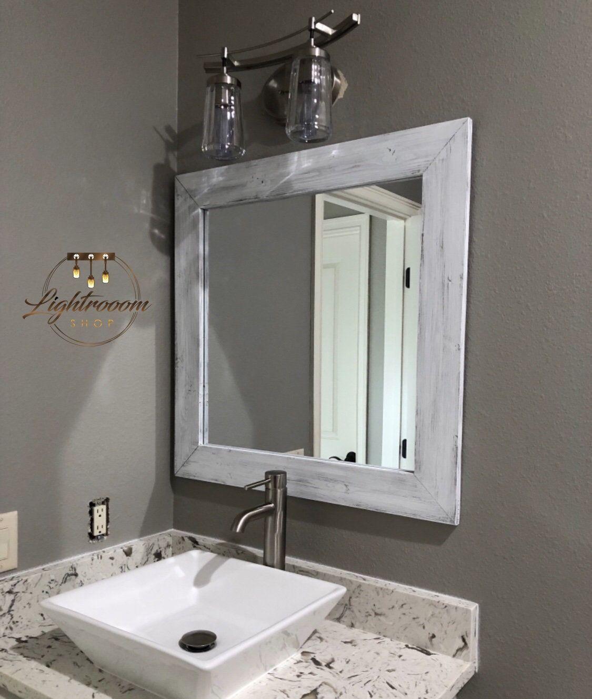 White Whitewash Mirror Wood Framed Mirror Rustic Wood Mirror Bathroom Mirror Wall Mirror Vanity Mirror Baby Room Small Large Wood Mirror Wood Framed Mirror Mirror Frames