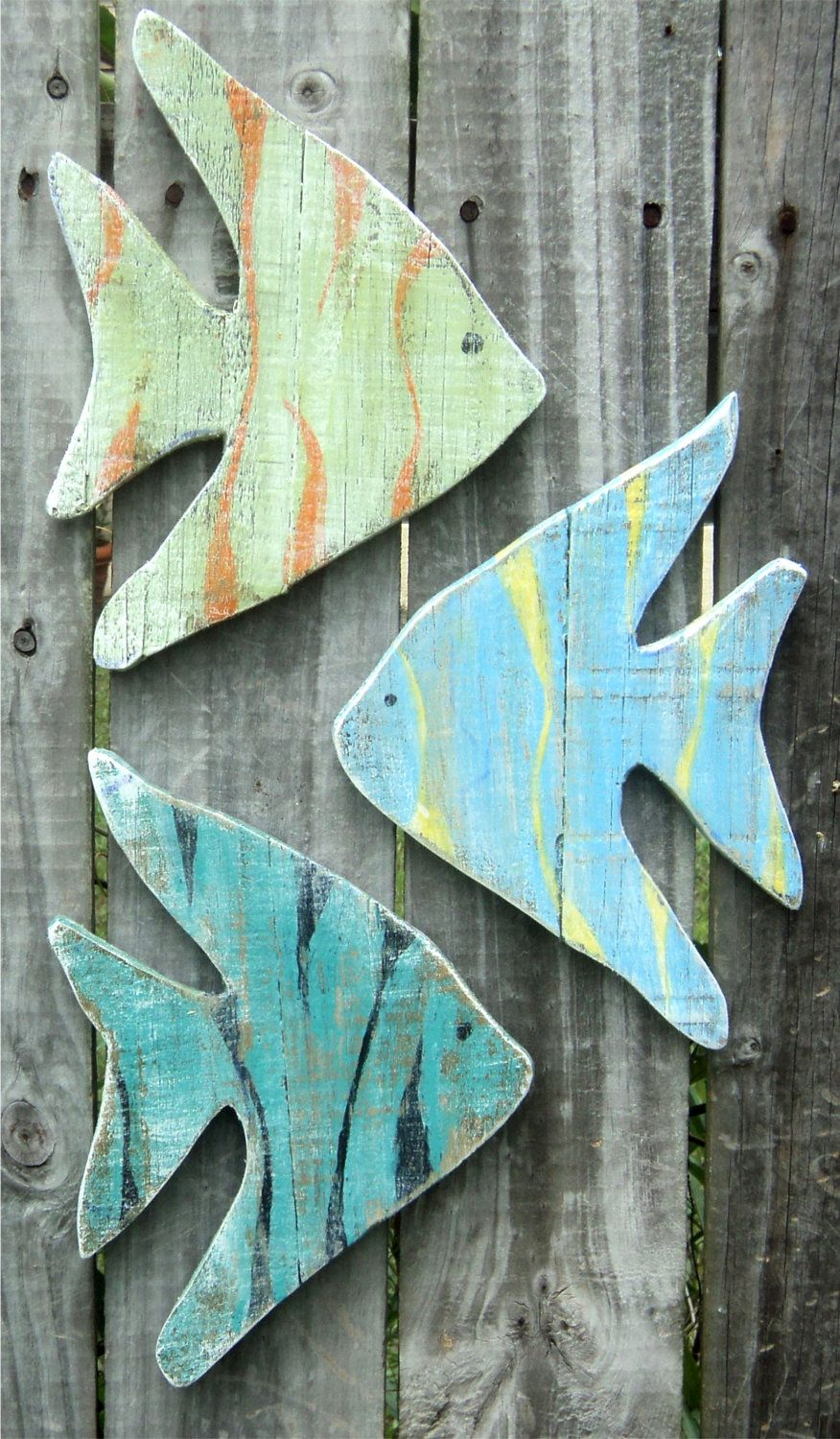 Lake House Wall Art beach-y wooden angel fish, casual cottage decor, lake house wall