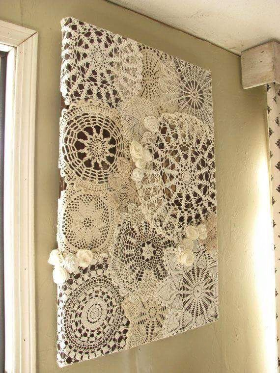 This Appears To Be Doilies That Are Decopaged Onto A Canvas Interesting Way To Display Family Heirloom Items I Like This Lace Crafts Doilies Crafts Doily Art